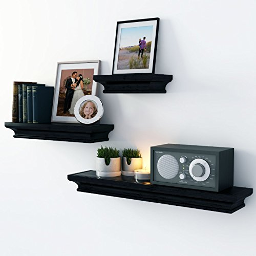 Traditional Wall Shelf Ledge Set Crown Molding Design Set of 3 (Black)