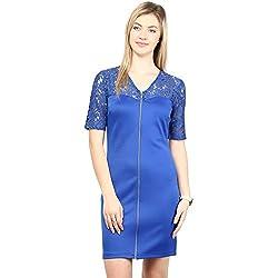 RARE Blue Scuba Solid Short Dress For Women