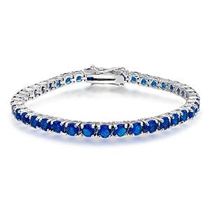 Bling Jewelry Blue CZ Sapphire Tennis Bracelet 7 in