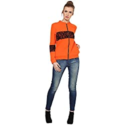 Kaxiaa Blended Orange Sweat Shirt For Women (Small)