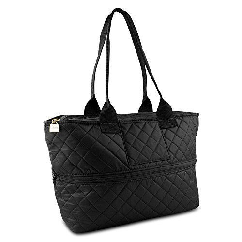 Pursfection Expandable Tote Bag For Women, Quilted  Soft  Fabric   Tote, Expandable Women's Tote  in one Wom e n's Carrying Bag  - Black.  (Quilted Zipper Tote compare prices)