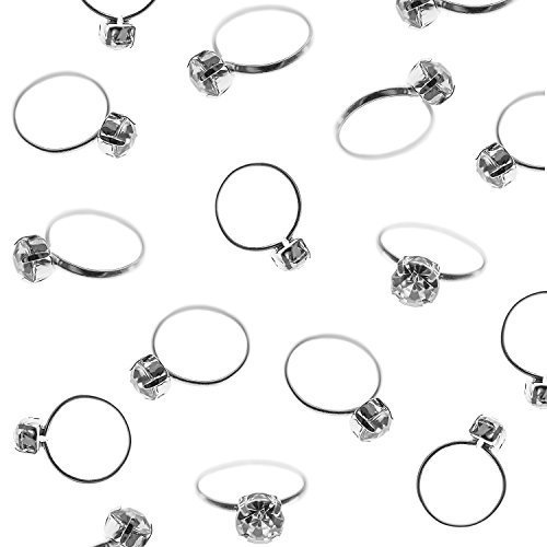 Silver Faux Diamond Engagement Rings for Wedding Table Scatter Decorations, Party Supply Favor Accents, Cupcake Toppers, Arts & Crafts (12 Pack) by Super Z Outlet®