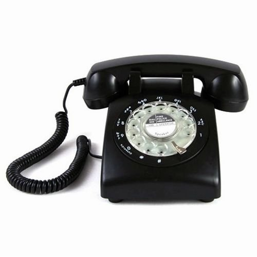 ECVISION Black Color Vintage 1960's STYLE ROTARY Retro old fashioned Rotary Dial Home Telephone (1960 Old Rotary Dial Telephones compare prices)