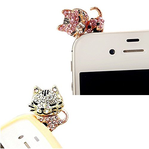 Vandot 2In1 For 3D Cute Cat Crystal Anti Dust Plug Bling Earphone Jack Glitter Diamond Tail Rhinestone Headphone Port Stopper Caps For Various Devices Which Have 3.5Mm Headphone Ports Including Iphone 3 3G 3Gs 4 4Gs 4S/Ipad 1 2 3 /Iapd Mini/ Samsung Galax
