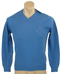 Tommy Hilfiger Mens Long Sleeve Pacific V-Neck Pullover Sweater - L - Blue