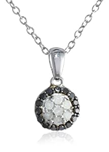 Sterling Silver Black and White Diamond Halo Pendant Necklace (0.25Cttw, H-I Color, I3 Clarity), 18