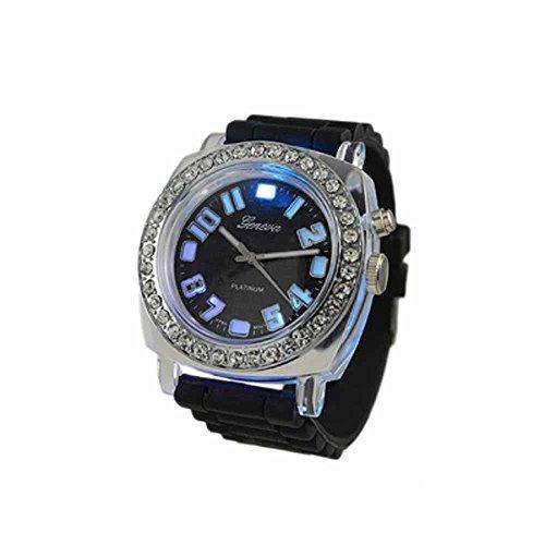 Geneva Platinum Silicone Rubber Cz Light Up Watch Black