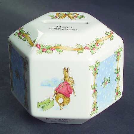 Peter Rabbit Wedgewood Christmas Coin Bank - 1