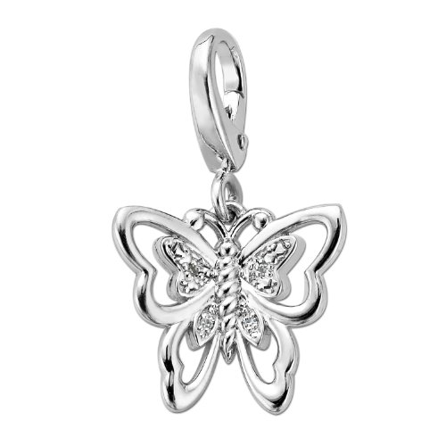 XPY Sterling Silver Butterfly and Diamond Charm
