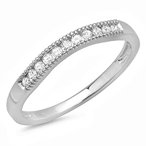 .25 Carat Curved Vintage Design Diamond Wedding Ring Band in 10k White Gold