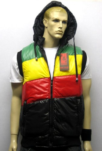 Raw Blue Hooded Gilet Body Warmer Puffer Vest Rasta Jacket in Black and Green Yellow Red, Size XX-Large