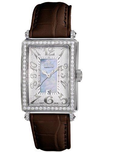 Gevril Women's 7247NV.5 Blue Mother-of-Pearl Genuine Alligator Strap Watch