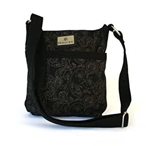 Halle Joy Paisley Black and Brown Cross Body Purse Grace Collection 100145