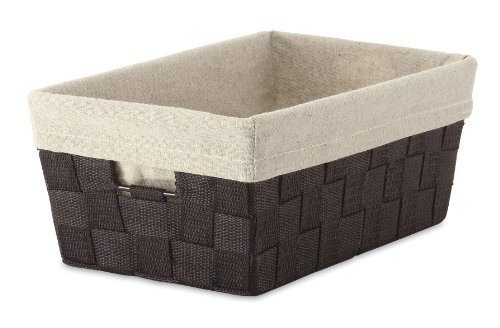 Whitmor Woven Strap Small Shelf Storage Tote w/ Liner, Espresso (Basket With Liner compare prices)