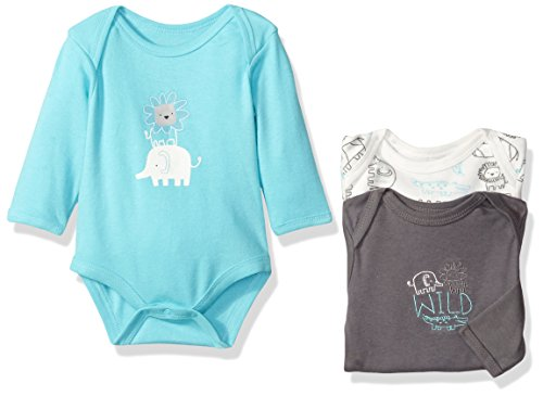 Rene Rofe Baby Boys' 3 Piece Longsleeve Bodysuit Set, King of the Jungle Grey, 6-9 Months