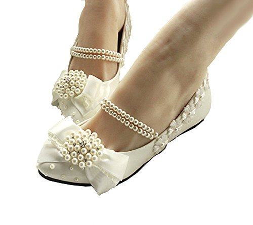 Getmorebeauty Women's Mary Jane Flats Pearls Bows Across Tops Dress Wedding Shoes 7 B(M) US