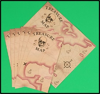 24 pc. PIRATE treasure maps / toys party supplies