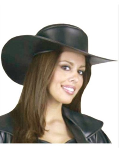 Women's Deluxe Black Leather Costume Accessory Cowgirl Hat