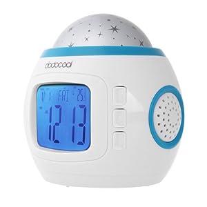 dodocool LED Display Digital Music Star Sky Projection Calendar Thermometer Snooze Alarm Clock
