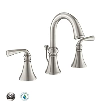 Moen 84855 Widespread Bathroom Faucet with Pop-Up Drain Assembly from the Wether, Spot Resist Brushed Nickel