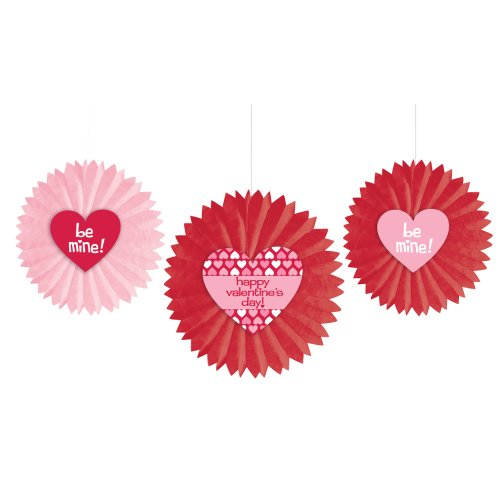 Creative Converting Paper Tissue Fan Hanging Decorations with Valentine's Day Phrases, Red and Pink, 3 Fans Per Package