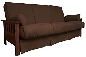 Epic Furnishings Portland Perfect Sit and Sleep Pocketed Coil Pillow Top Sofa/Sleeper Bed, Full, Walnut Arms with Suede Chocolate Brown Upholstery