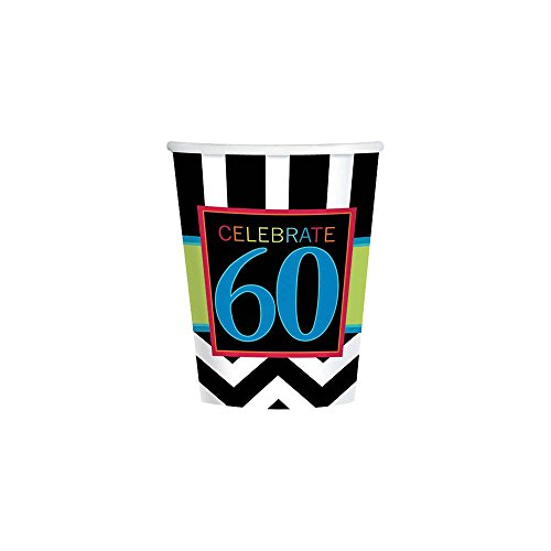 Amscan Cheerfully Colorful Printed Cups in 60th Celebration Theme, Black/White/Yellow Green/Blue, 9 oz