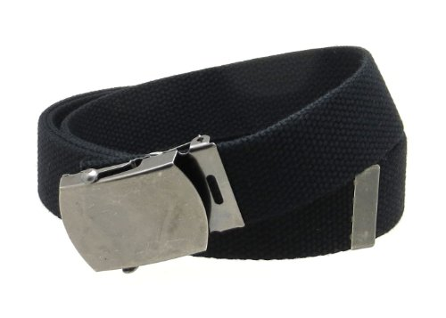 "Canvas Web Belt Military Style Antique Silver Buckle/Tip Solid Color 50"" Long (Black Color)"