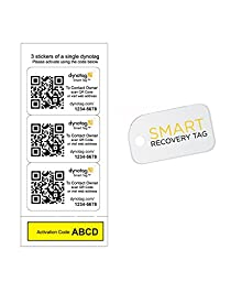 Dynotag® Web/GPS Enabled QR Code Smart Tags. 3 Tough Identical Stickers + 1 Keychain Mini Tag