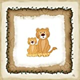 2 Lion Cubs by Pugh, Jennifer - Fine Art Print on CANVAS : 10 x 10 Inches
