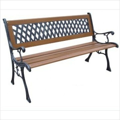 DC America SLP408-BRMP Mesh Resin Park Bench, Cast Iron Legs, Rust Free Resin Back, and Hardwood Slats, Rust Resistant Bronze Finish