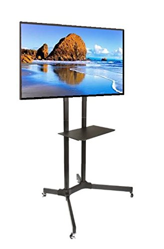 EZM Universal Mobile TV Cart for LCD LED Plasma Flat Panel with Shelf Fits 30