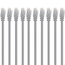 GearIT 10 Pack, Cat 6 Ethernet Cable Cat6 Snagless Patch 15 Feet - Computer LAN Network Cord, Gray - Compatible with 10 Port Switch POE 10port Gigabit
