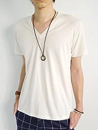 (モノマート) MONO-MART Vネック ふんわり カットソー 半袖 Tシャツ 綿100% デザイン 品質 セレクトショップ メンズ 春 夏 ホワイト Lサイズ