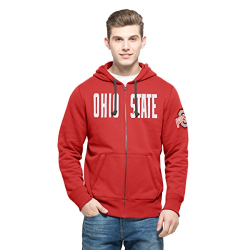 NCAA Ohio State Buckeyes Men's 47 Cross Check Full-Zip Pullover Jacket, Small, Rescue Red