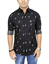 AA' Southbay Men's Black Dolphin Print 100% Premium Cotton Long Sleeve Casual Shirt