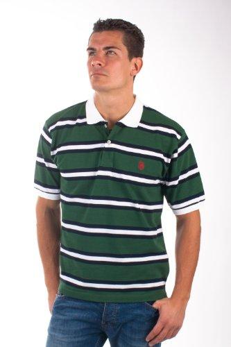 U.S.Polo Assn. men's Poloshirt Pique green/white/navy striped USP1249, Größe:S