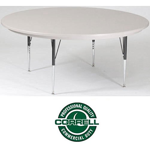 """Correll AR60-RND-23 Blow-Molded Plastic Top Activity Table, 60"""", Gray Granite"""