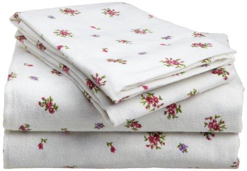 Divatex 100-Percent Cotton Flannel Twin Sheet Set, Petite Fleur