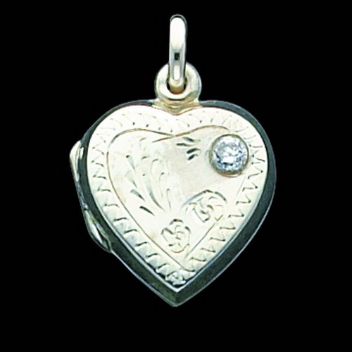 Sterling Silver Heart Locket w/CZ. Metal Weight- 3g.