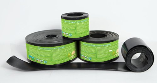 Recycled Plastic Heavy Duty Lawn Edging, Strimmer proof Black 2mm thick 25m, 12cm depth