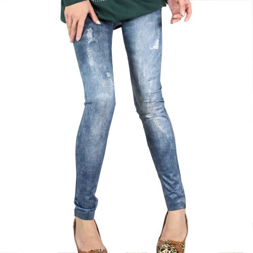 Purchase ECOSCO Women Ripped Effect Denim Print Fake Jeans Ankle Length Footless Pantyhose Legging T...