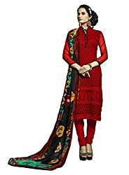 Suchi Fashion Embroidered Maroon Georgette Dress Material