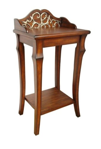 Cheap 48″ ht Wood Brass Floral Console Hall Shelf End Table (B00188DBCM)