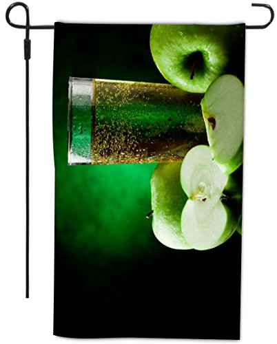 Rikki Knighttm Green Apple Juice Design Garden Flag With Sturdy Black Wrought Iron Flag Pole (Proudly Made In The Usa)