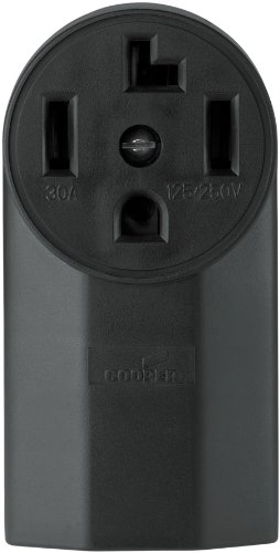 Cooper Wiring Devices Wd1225 30-Amp 3-Pole 4-Wire 125-Volt Surface Mount Dryer Power Receptacle, Black front-394389