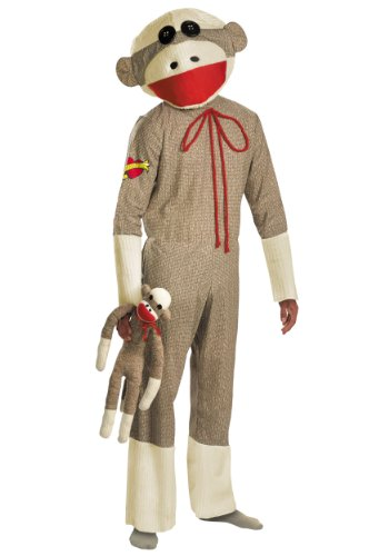 Disguise Mens Sock Monkey Mascot Theme Party Fancy Dress Animals Costume