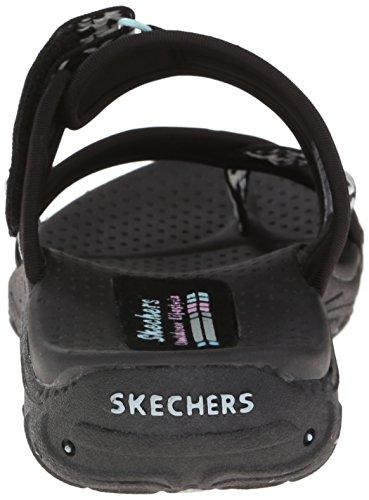 Skechers Women's Reggae Trailway Flip Flop, Black/White, 8 M US