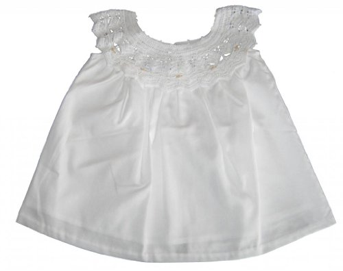 Kissy Kissy Baby-Girls Infant Besos Anna Dress With Crochet Top-White-3-6 Months front-951756