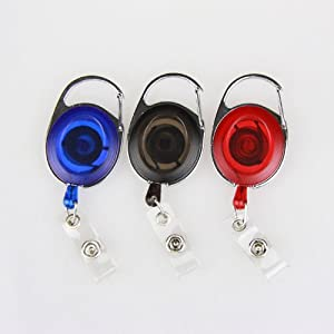 Oval Retractable Translucent Quick Clip ID Card/Badge Reel, Carabiner Style, 3 Per Pack